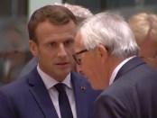 President Macron van Frankrijk en Commissievoorzitter Juncker op de Europese top van 18 oktober 2018