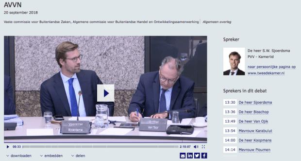Personalia S.W. Sjoerdsma, hier aangeduid als PVV-Kamerlid (bron: openbare website Tweede Kamer)