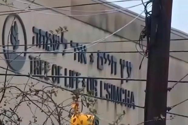 De Tree of Life Synagogue in Pittsburgh, toneel van een terreuraanslag op Joden