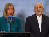 EU-Buitenlandvertegenwoordiger Federica Mogherini en de Iraanse minister Mohammed Javad Zarif (25 september 2018)
