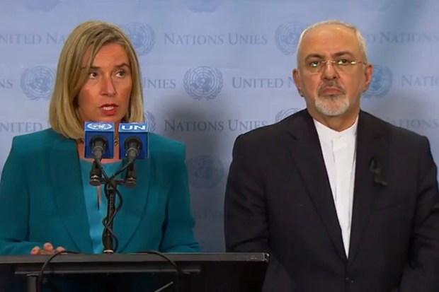 EU-Buitenlandvertegenwoordiger Federica Mogherini en de Iraanse minister Mohammad Javad Zarif (25 september 2018)