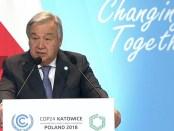 VN secretaris-generaal Guteres bij de opening van de klimaattop COP24 in Polen.