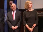 Secretaris-Generaal van de VN Guteres en EU Hoge Vertegenwoordiger Buitenlandbeleid Mogherini.