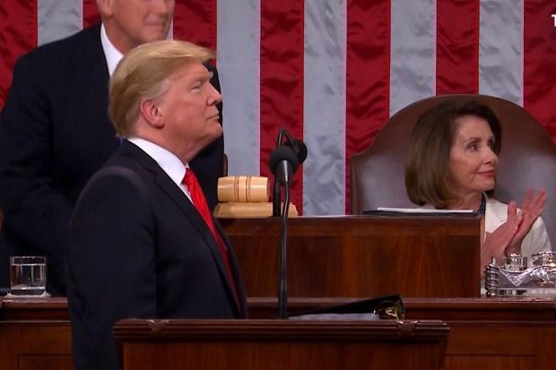 Donald Trump tijdens de State of the Union 2019
