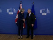 Theresa May en Jean-Claude Juncker in Brussel (7 februari 2019)