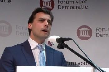 Thierry Baudet tijdens zijn overwinningsspeech op 20 maart 2019