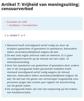 Artikel 7 Grondwet Vrijheid van meningsuiting; censuurverbod