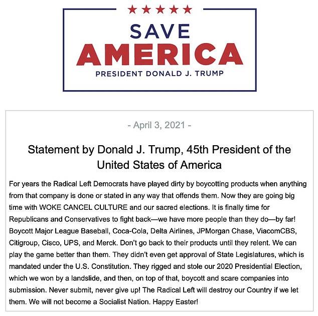 Statement Trump april 3 2021