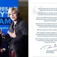 Theresa May en haar verbindende Conservative Manifesto