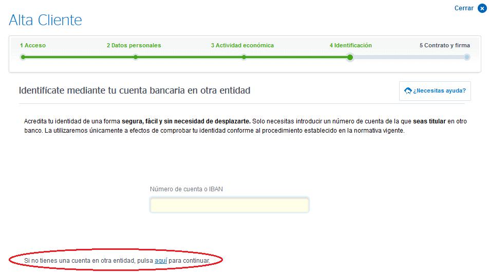 acreditar identidad para la cuenta de banco