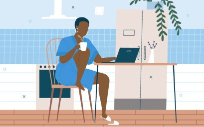 illustration-woman-working-remotely-from-kitchen-laptop