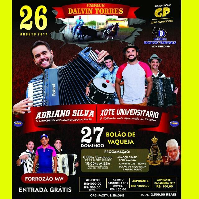 festa Vem aí, nos dias 26 e 27 de agosto, grande Bolão de Vaquejada no Parque Dalvin Torres em Monteiro.