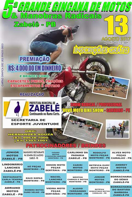 z Prefeitura de Zabelê promove 5ª grande gincana de motos e manobras radicais