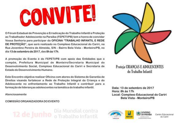 AÇÃO-SOCIAL Prefeitura de Monteiro promove Oficina contra o trabalho infantil nesta quarta e convida população