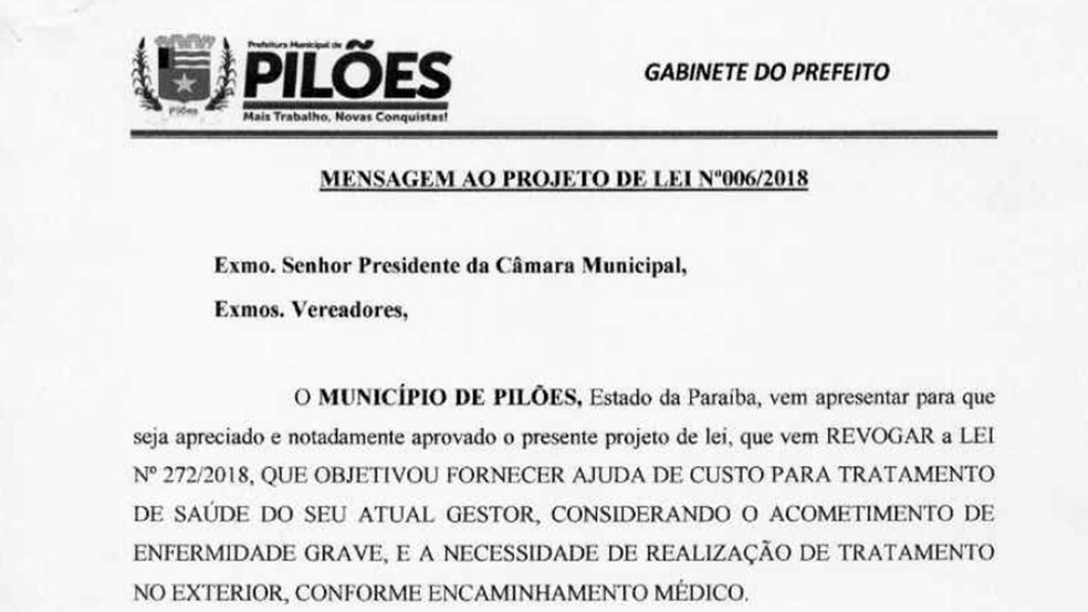 projeto-de-lei-de-revogacao Prefeito na PB propõe lei para usar R$ 120 mil da Prefeitura para tratamento de câncer