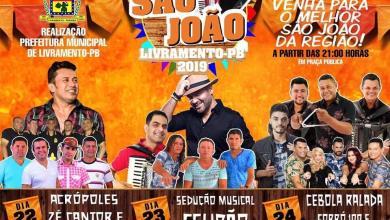Programação 2019 do São João de Livramento terá shows com Zé Cantor & Solteirões do Forró e Felipão 7