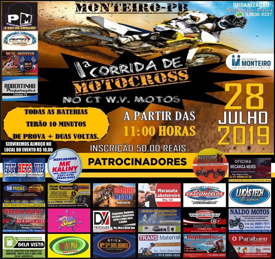 67402277_511177506293195_9223341688615862272_n 1º Motocross de Monteiro no CT. W.V Motos dia 28 de Julho em Monteiro
