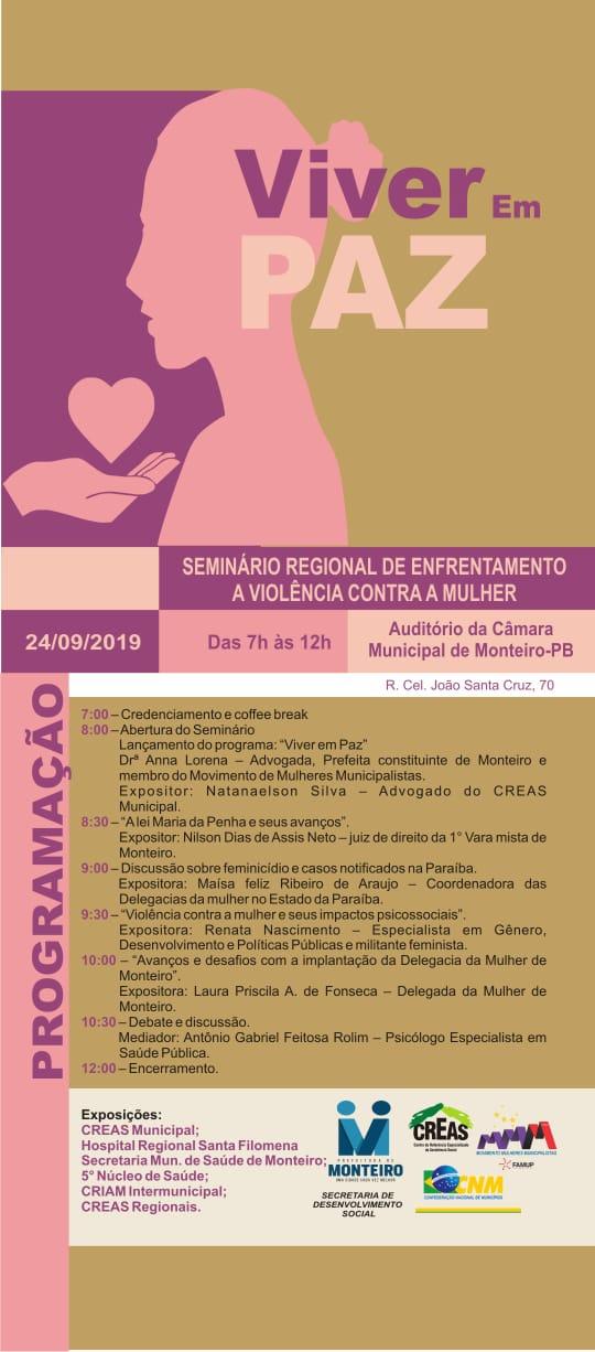 zz Monteiro recebe Seminário que aborda o enfrentamento à violência contra a mulher