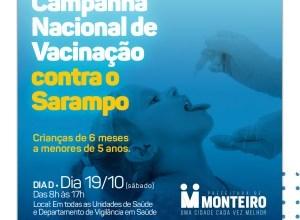"""Saúde de Monteiro convida população para o """"Dia D de Vacinação contra o Sarampo"""" 15"""