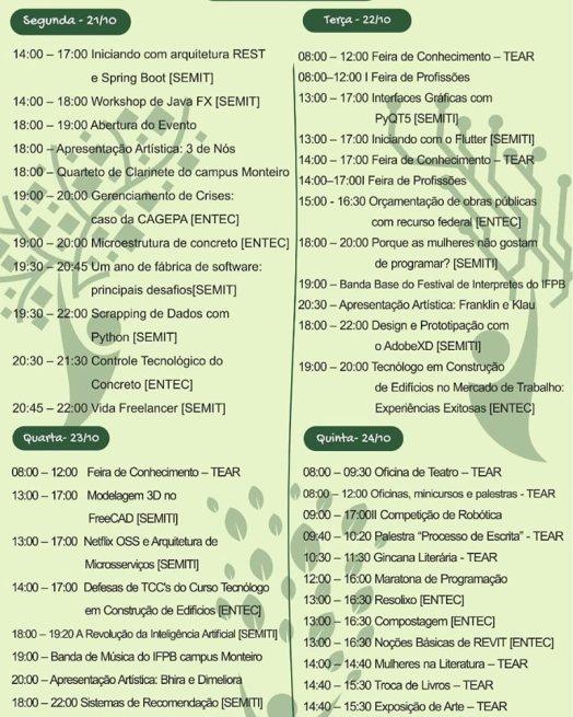 programação IFPB campus Monteiro realizará a V Semana de Tecnologia e Arte