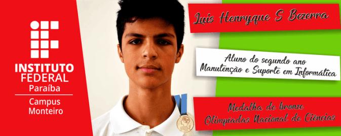 567563d6-6413-4553-b820-f537b2e94e11 Monteiro conquista medalha de bronze na Olimpíada Nacional de Ciências