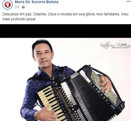 """click-433x400 Internautas lamentam morte do cantor Dejinha de Monteiro """"A cultura está de luto"""""""