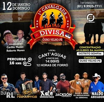 CAVALGADA-DA-DIVISA 1ª Cavalgada da Divisa acontecerá no próximo domingo
