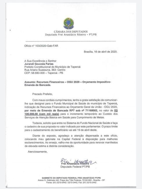 VERBAS-DESTINO-489x650 Deputado Frei Anastácio destina recursos para custeio de saúde no município de Taperoá