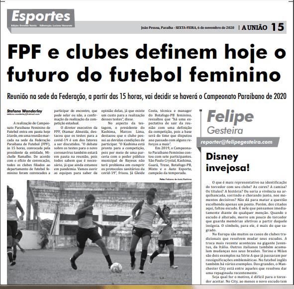 jornal-uniao Atletas de Monteiro são destaque no JORNAL A UNIÃO em matéria sobre o futebol feminino profissional na PB