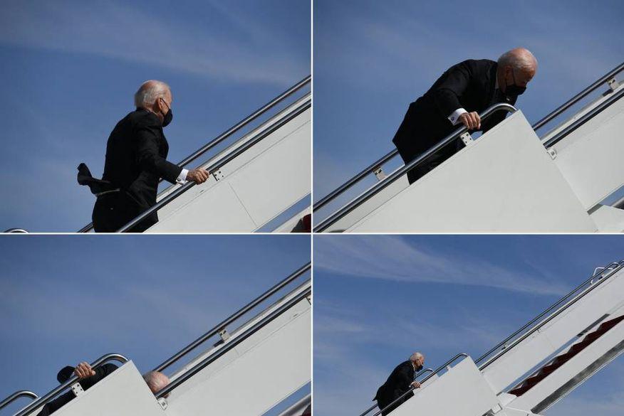 biden Joe Biden tropeça três vezes nas escadas no Air Force 1, e Casa Branca culpa o vento