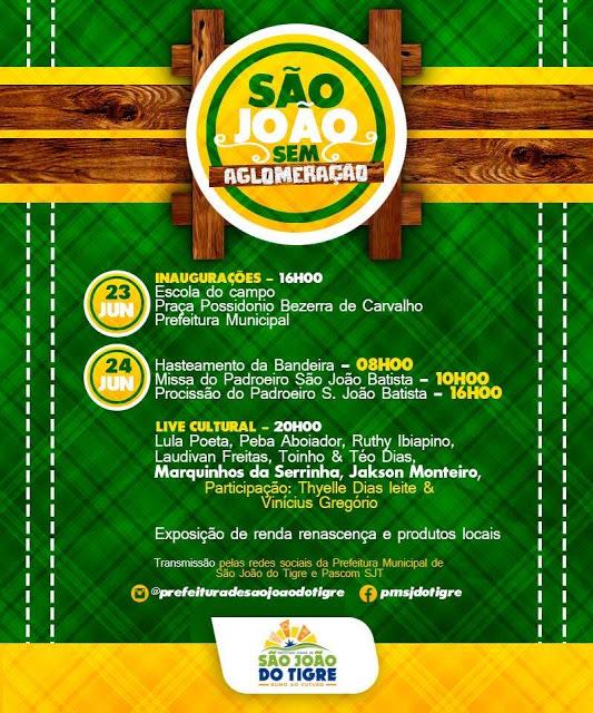 1-3 Prefeitura de São João do Tigre divulga programação completa das comemorações de aniversário de emancipação política e padroeiro