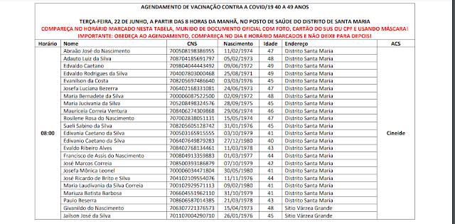 vac1 São João do Tigre divulga cronograma de vacinação para público de 40 a 49 anos