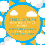 OPIRG Guelph 2018 Summer Office Hours