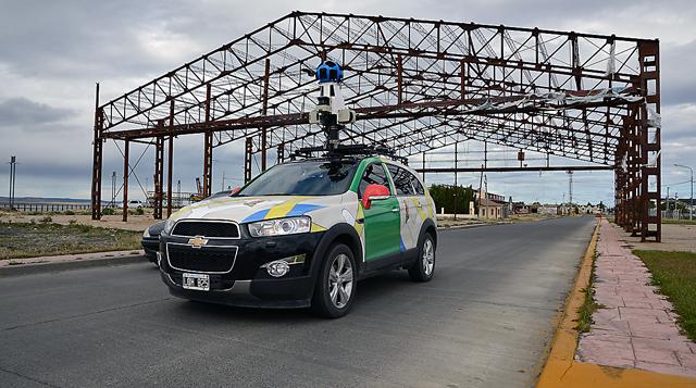 El vehículo de Google  Street View en la costaner de Río Gallegos - Foto: OPI Santa Cruz/Francisco Muñoz