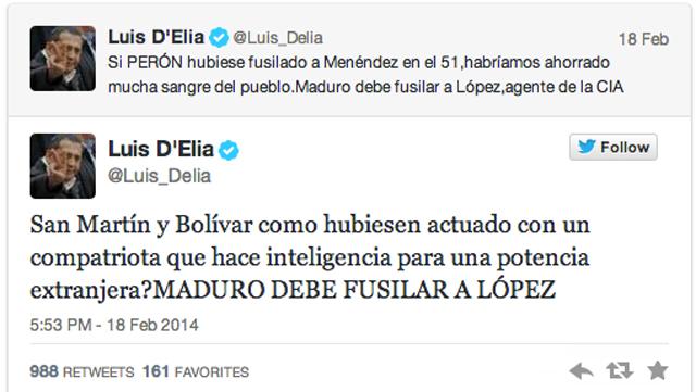 El tuit de Luis D Elia - Foto: Twitter
