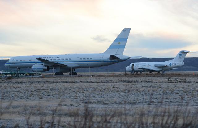 El avión presidencial T01 en el aeropuerto de Río Gallegos esta mañana - Foto: OPI Santa Cruz/Francisco Muñoz