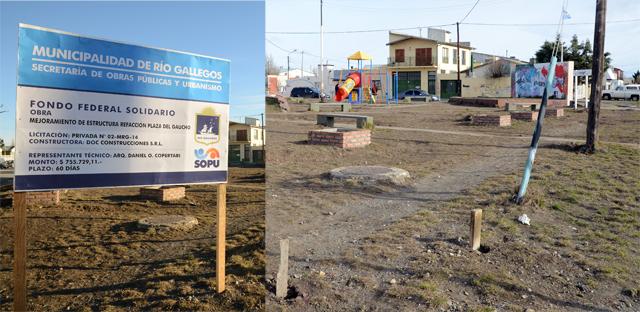 La plaza del gaucho en sus dos versiones con y sin cartel de obra - Foto: OPI Santa Cruz/Francisco Muñoz