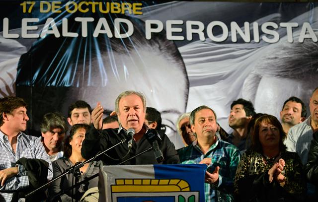 El Gobernador de Santa Cruz, Daniel Peralta esta tarde en el acto - Foto: OPI Santa Cruz/Francisco Muñoz