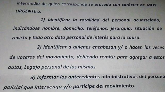 Último momento: Gendarmería recibió la orden judicial para identificar al personal policial acuartelado, a quienes encabezan el movimiento y a los voceros