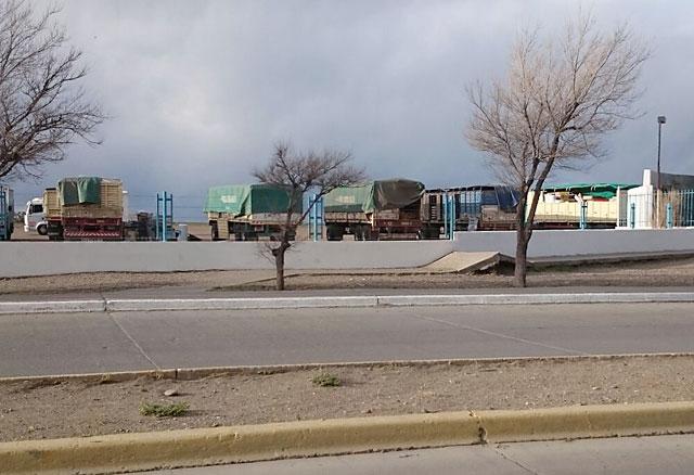 Camiones en la playa de Prefectura en Caleta Olivia - Foto: OPI Santa Cruz