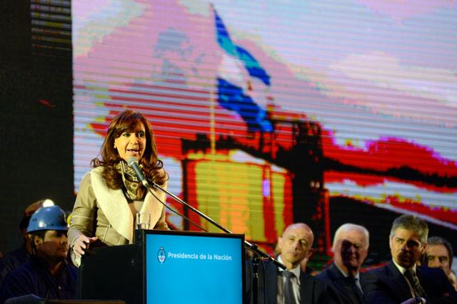 La Presidenta de la Nación en el acto en la Megausina en Río Turbio – Foto: OPI Santa Cruz/Francisco Muñoz