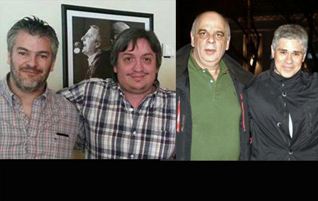 Presidentes de la UCR de Santa Cruz y del comité de Calafate, abrazados con Pablo González y Máximo Kirchner