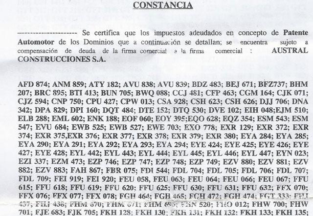 Las patentes de los vehículos de la empresa Austral Construcciones SA - Foto: OPI Santa Cruz/Francisco Muñoz