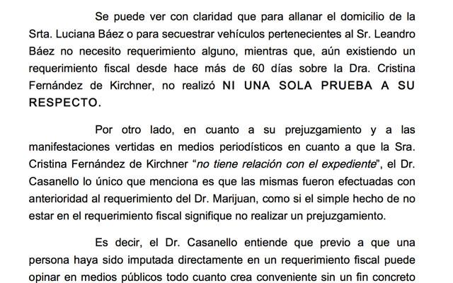 Leandro Báez acusó a Casanello de no haber realizado ni una sola prueba, respecto de Cristina Fernández de Kirchner
