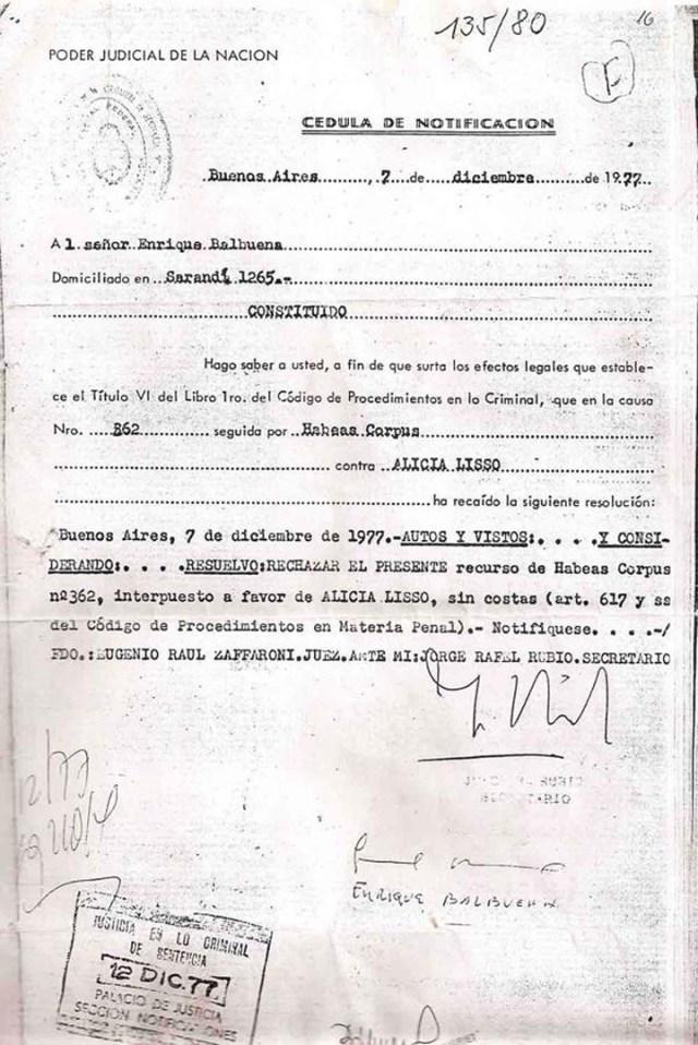 El Juez de la dictadura militar, Eugenio Zafaroni, cuando rechazó un Hábeas Corpus de una desaparecida