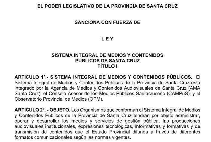 Otro invento político: el Sistema Integral de Medios y Contenidos Públicos de la provincia de Santa Cruz