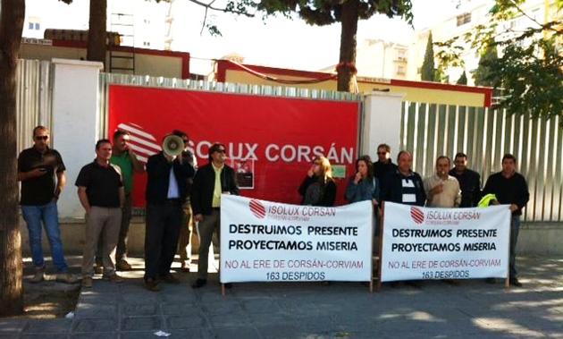 Isolux Corsan manifestación frente a la empresa - Foto Europa press