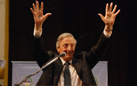 El ex presidente Néstor Kirchner en el acto del pasado 8 de octubre - Foto: OPI Santa Cruz/Francisco Muñoz