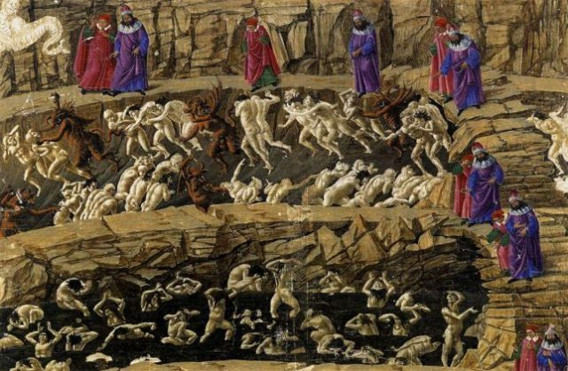 Inferno - Ilustrație de Sandro Botticelli (wikipedia)