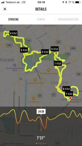 Meine Laufstrecke vom Motel One durch den Hofgarten